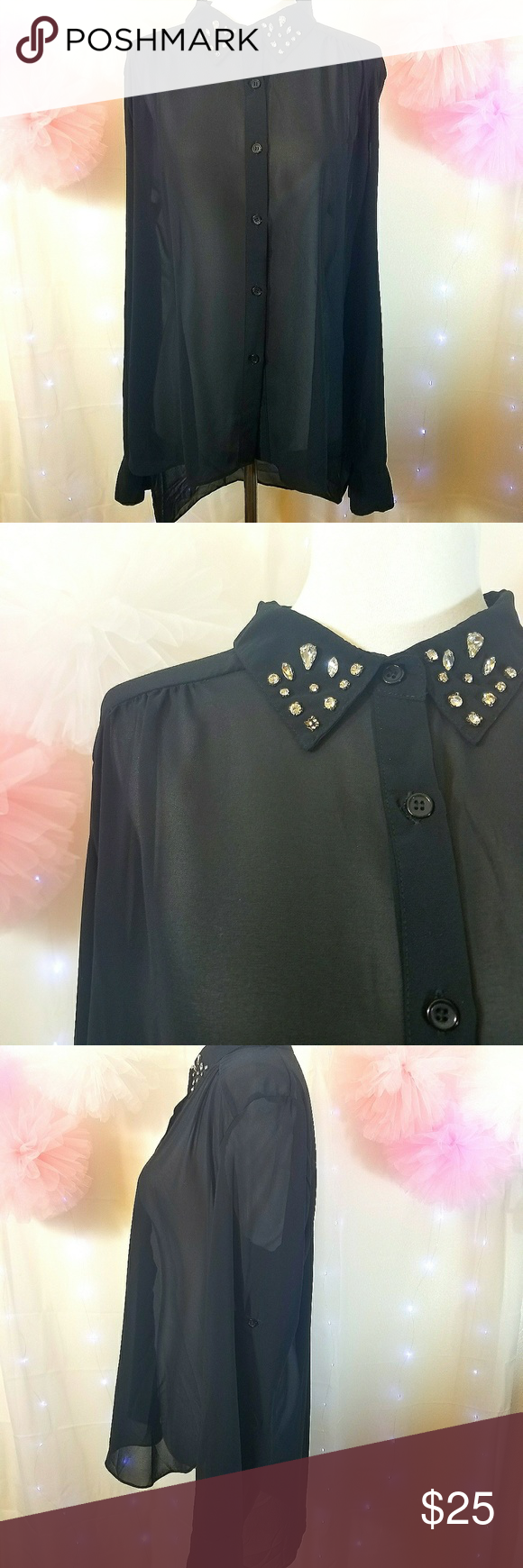Sans Souci Sheer Blouse Sans Souci Sheer Blouse  Black sheer blouse by Sans Souci with rhinestone embellishments on collar. Size XL. No rips or stains. Please let me know if you have any questions. Sans Souci Tops Blouses