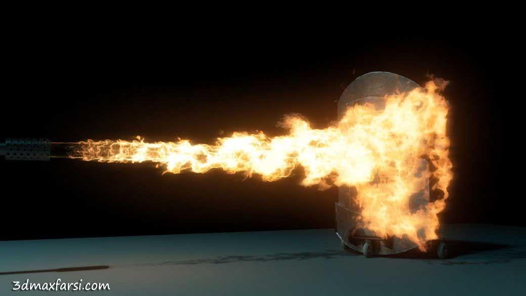 آموزش شبیه سازی افکت آتش شعله مایا Maya 2014 Flamethrower Effect