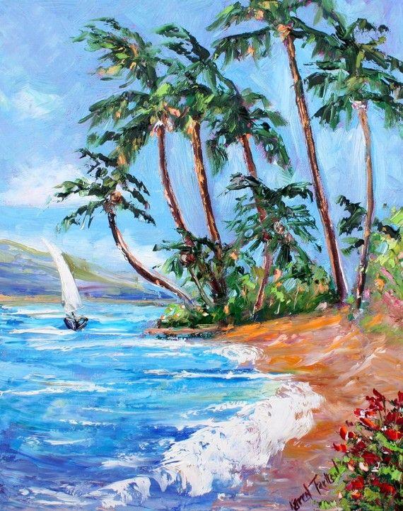 Sailboat Print Nautical Print Ocean Art Beach Print Made From Image Of Past Oil Painting By Karen Tarlton Tropical Breeze Ocean Art Fine Art Fine Art Painting
