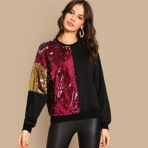 Women Color Block Sequined Sweater Blouse #autumnseason