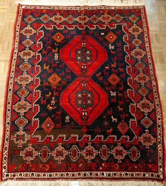 Antique Afshar Shiraz Carpet 7.2 ft x 5.3 ft  Circa 1940's   COPYRIGHT 2016 KERMANSHAH RUG GALLERY