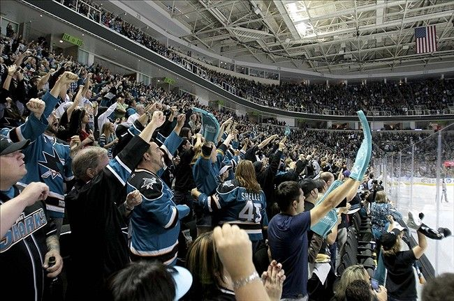 When all the Sharks fans jump up, screaming, when the puck goes in the net <3