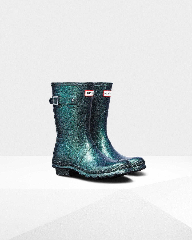 short glitter rain boots
