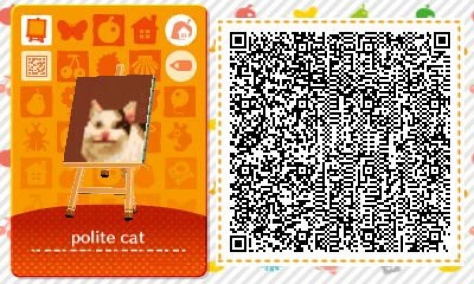 Polite Cat And Crying Cat Qr Codes Credit If Used Please Animal Crossing Animal Crossing Qr Qr Codes Animal Crossing
