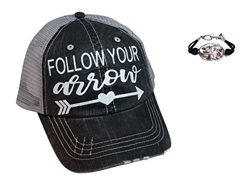 a0e24d48d5c Loaded Lids Women s Follow Your Arrow Bling Baseball Cap Bundle with  Bracelet