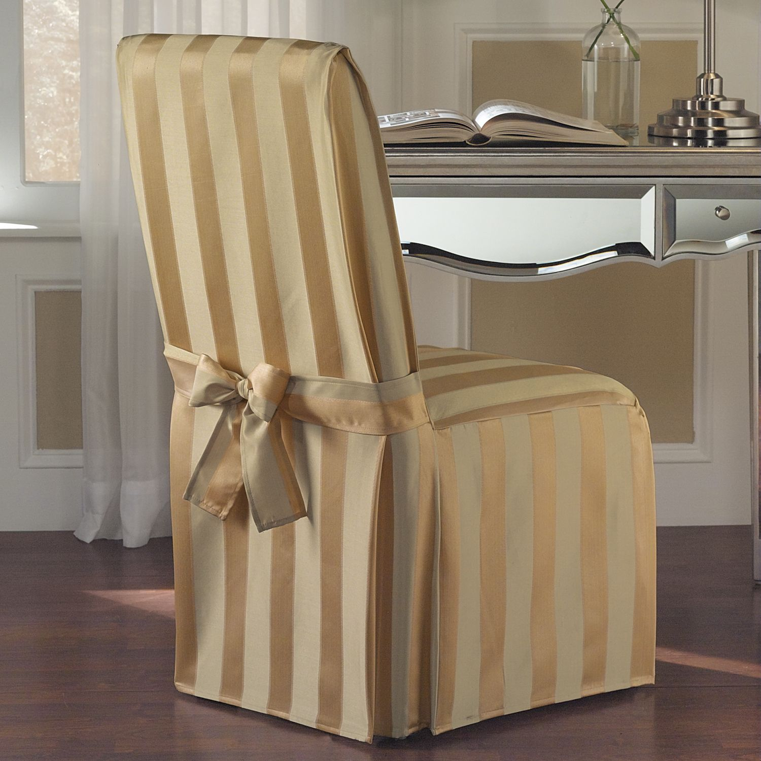 striped chair covers dining rooms restaurant tables and chairs used luxury collection madison cover natural solid gold stripe