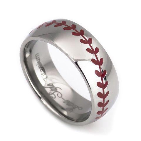 Baseball Laser Titanium Wedding Rings For Men And Women