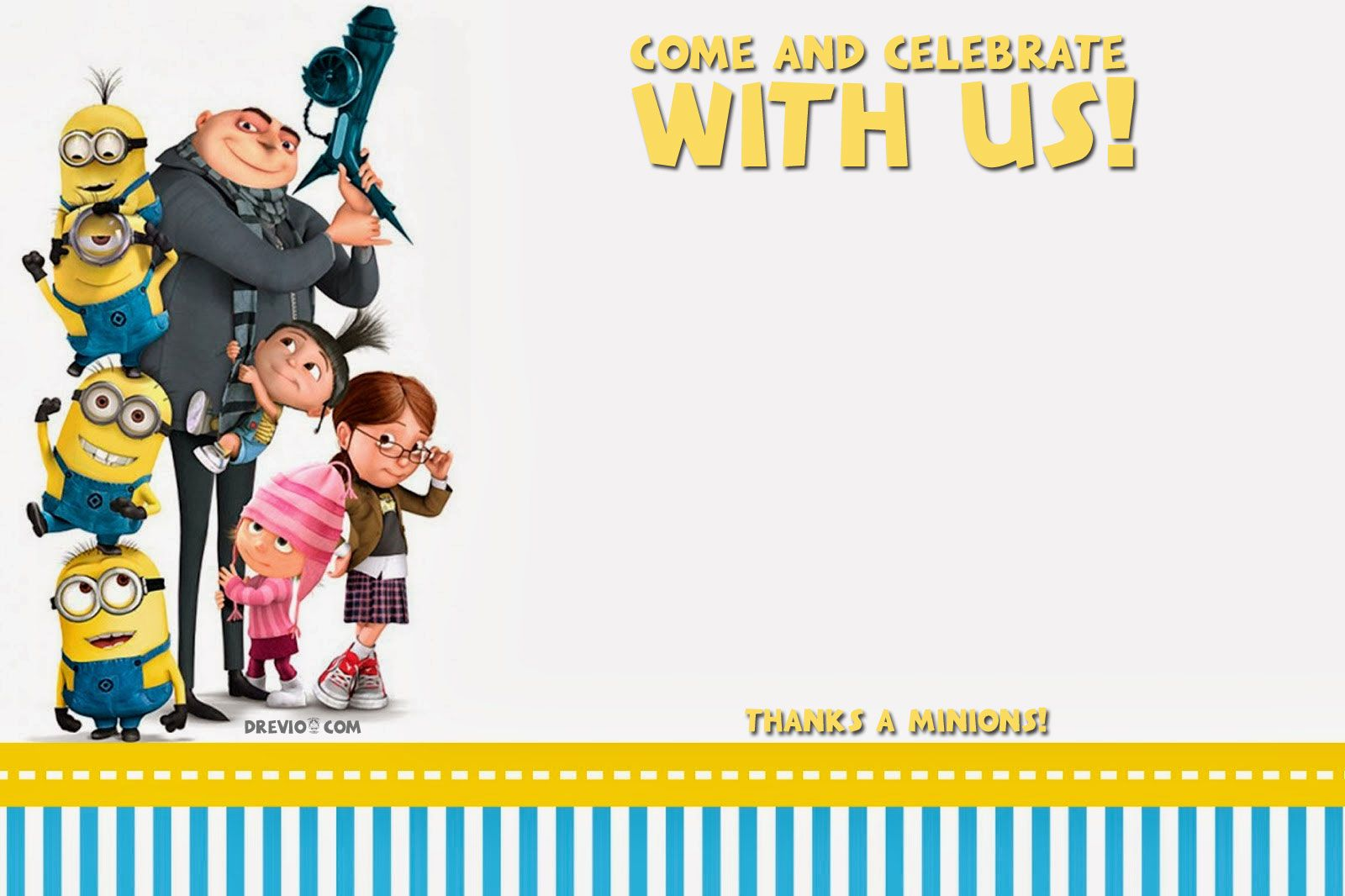 FREE Printable Despicable Me Birthday Invitation Template  Minion