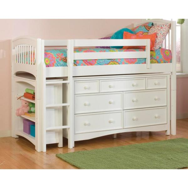 Windsor White Twin Low Loft Storage Bed with Wakefield 7