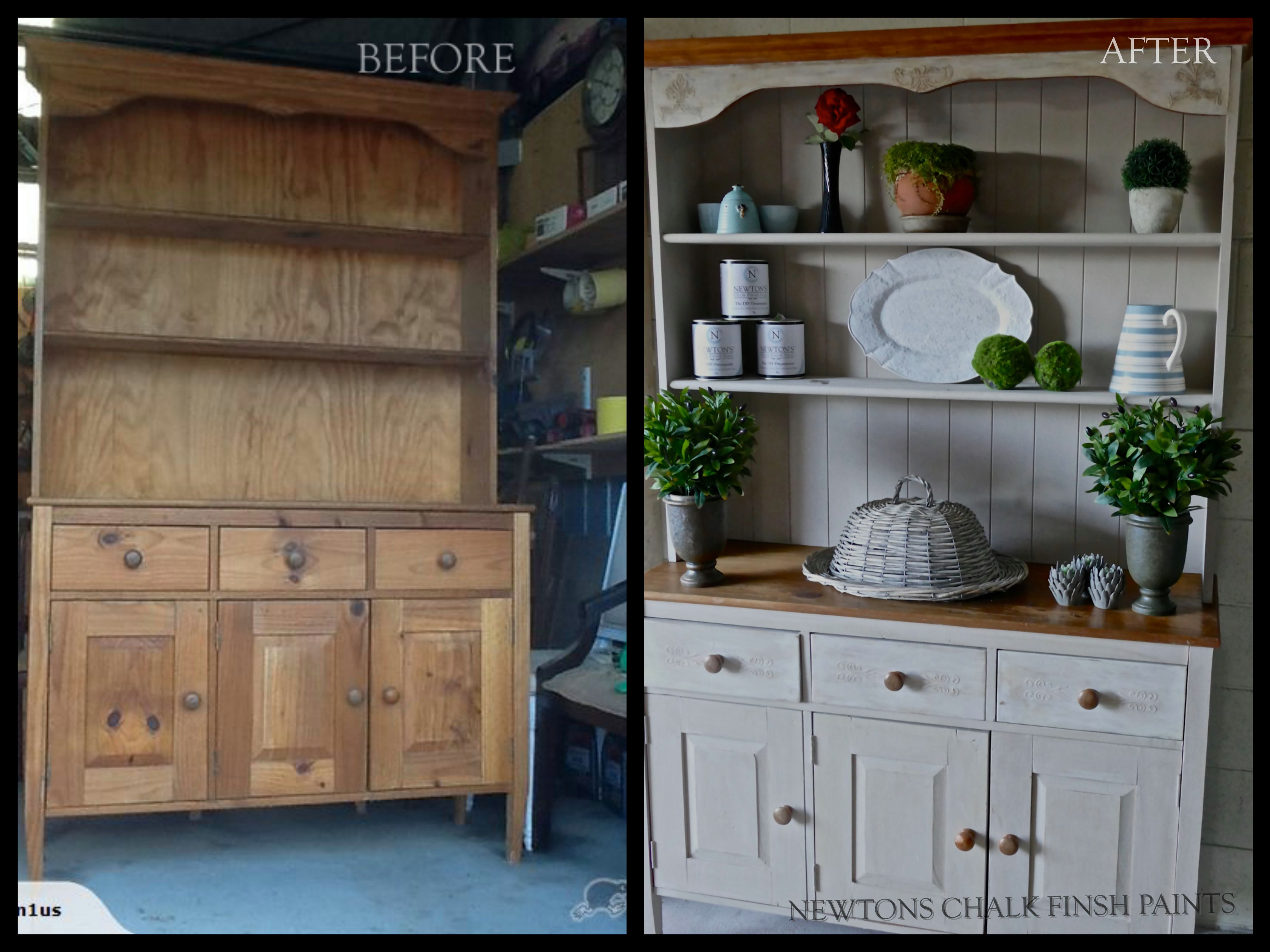 Hutch Dresser Transformed Before And After Painted In Beige Aged White Newtons