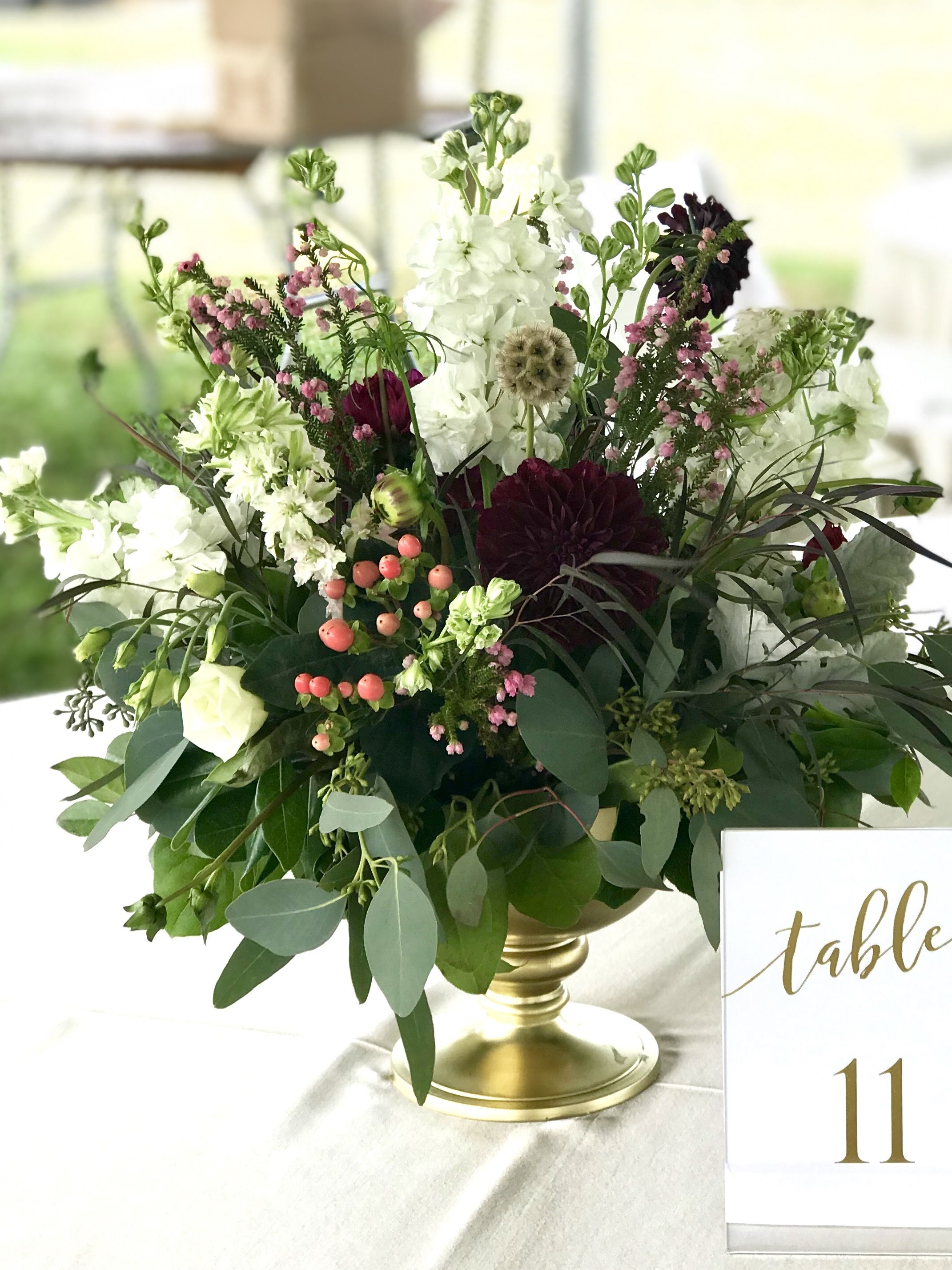 Wedding decorations and ideas december 2018 Marsala and blush centerpiece by Jeanie Gorrell Floral Design