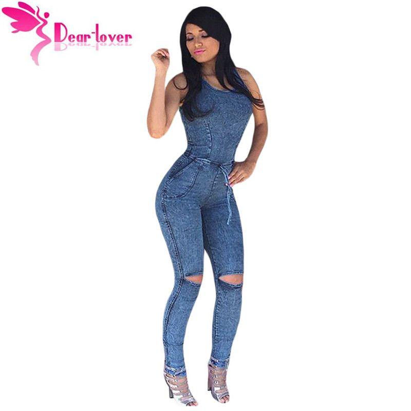 Dear Lover Jumpsuits Long Pants Denim Sexy Slim Bodycon Knee Slit Jeans  Jumpsuit Women Romper Female Slim Catsuit Jeans LC64153
