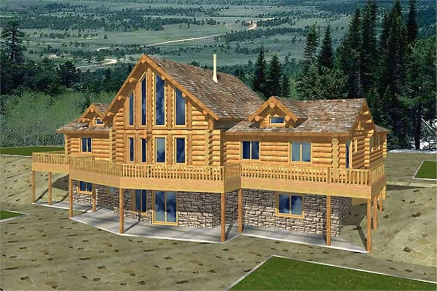 Log Homeplans Front Elevation Fun House Plans Pinterest