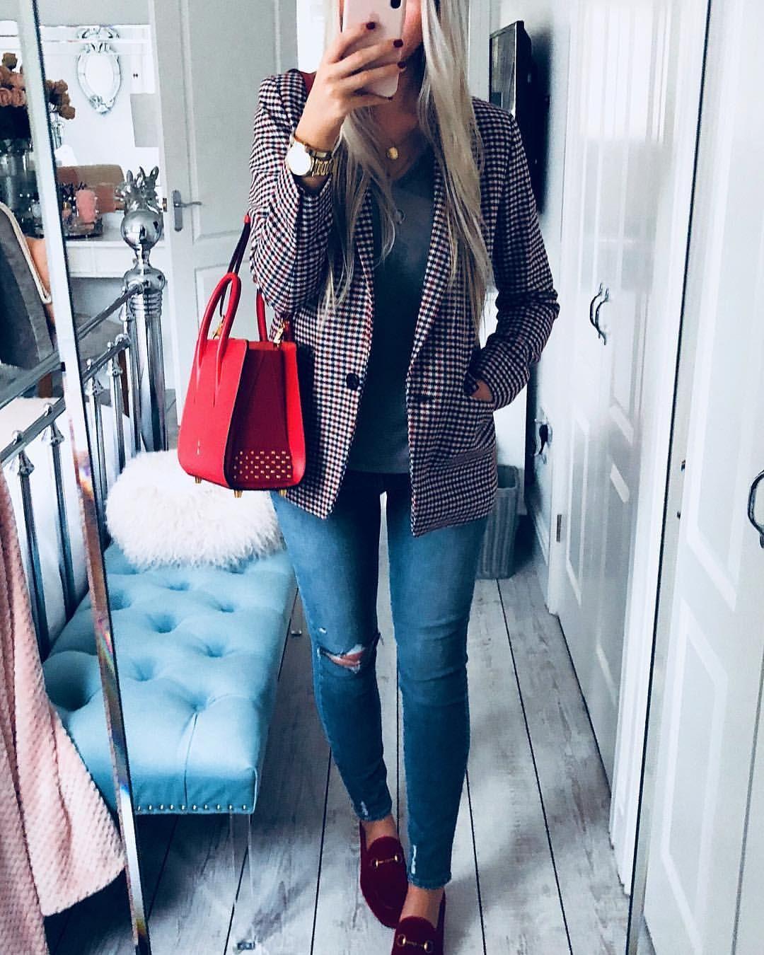 608ce813f Instagram @emilyjanehardy Sandro check jacket, louboutin paloma bag, paige  denim, red velvet Gucci Jordaan loafers