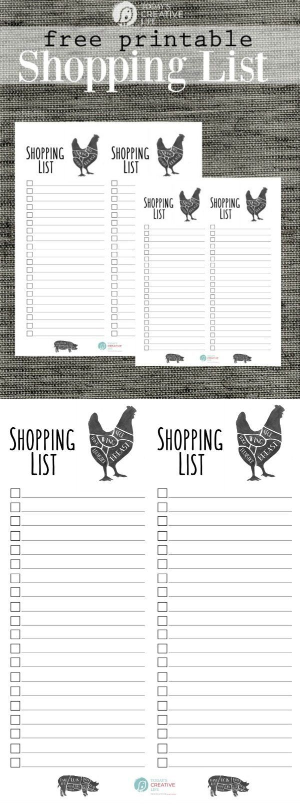grocery list free printable