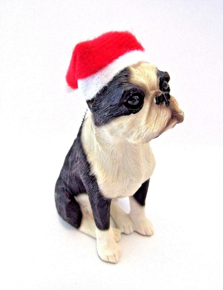 Boston Terrier Christmas Ornament Dog Wearing Santa Hat Loop To Hang New # Sandicast - Boston Terrier Christmas Ornament Dog Canine Wearing Santa Hat Loop