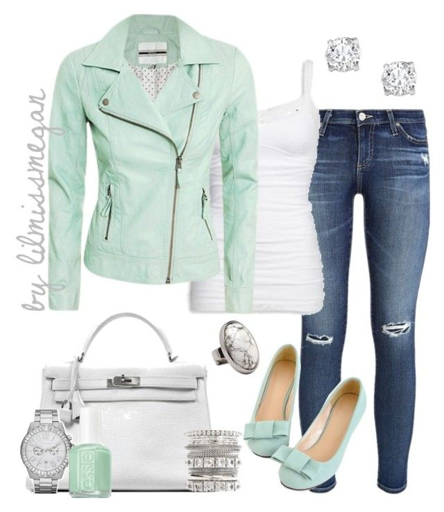 """Minty Fresh"" by lilmissmegan ❤ liked on Polyvore featuring AG Adriano Goldschmied, American Eagle Outfitters, Hermès, Asprey and MICHAEL Michael Kors"
