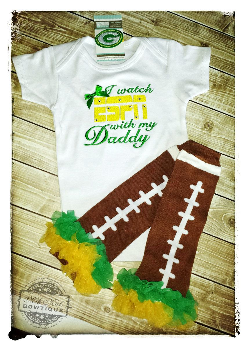 I Watch Espn With My Daddy Football Packers Onesie Green Bay Football Football Baby Shower Gift Football Baby Shower Packers Baby Football Baby