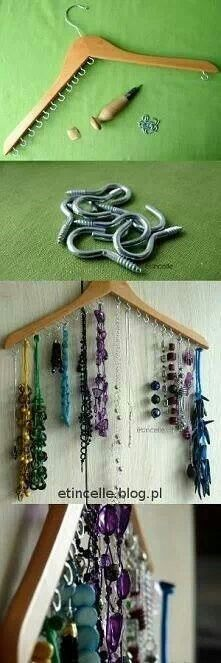 """Diy Crafts Jewelry hook hanger. Cute for teen girls.  Hint """"I would space hooks a Lil further apart"""""""