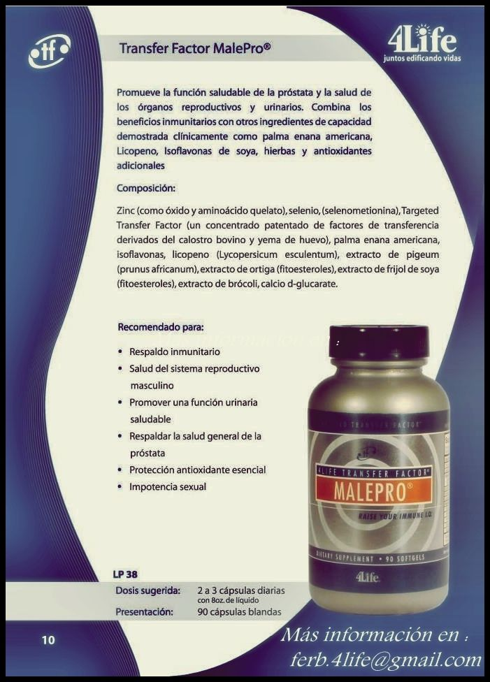 4Life Transfer Factor MalePro es un producto de la línea