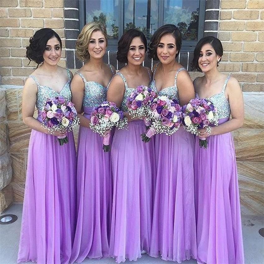 Long Bridesmaid Dresses Lilac Chiffon Sweetheart Maid Of Honor