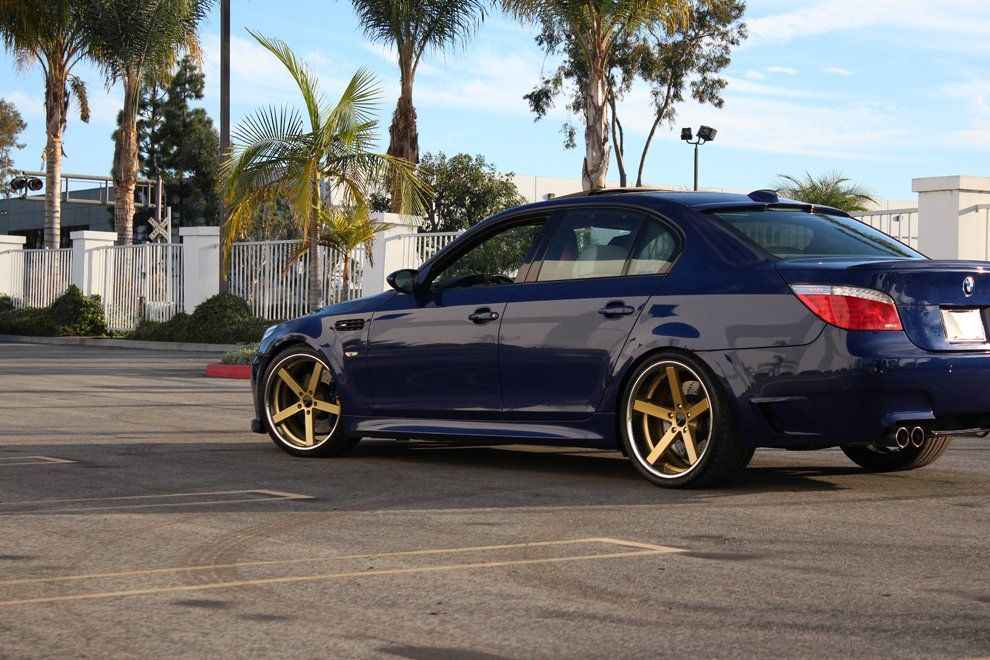 Blue BMW 3 Series with Gold and Chrome SS Lip Giovanna Mecca