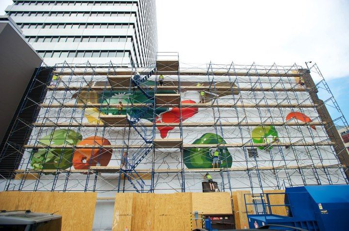 Queen's mural can be seen in process. Photo by Mark Byron – Byron Photography.