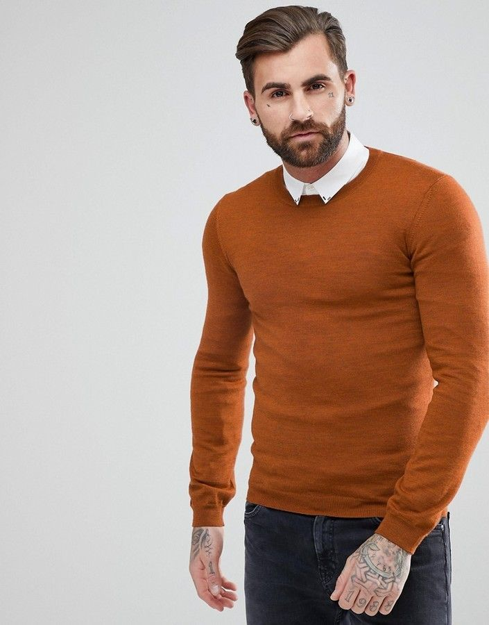 Asos Muscle Fit Merino Wool Sweater In Copper   Products   Merino ... c38351e8fb