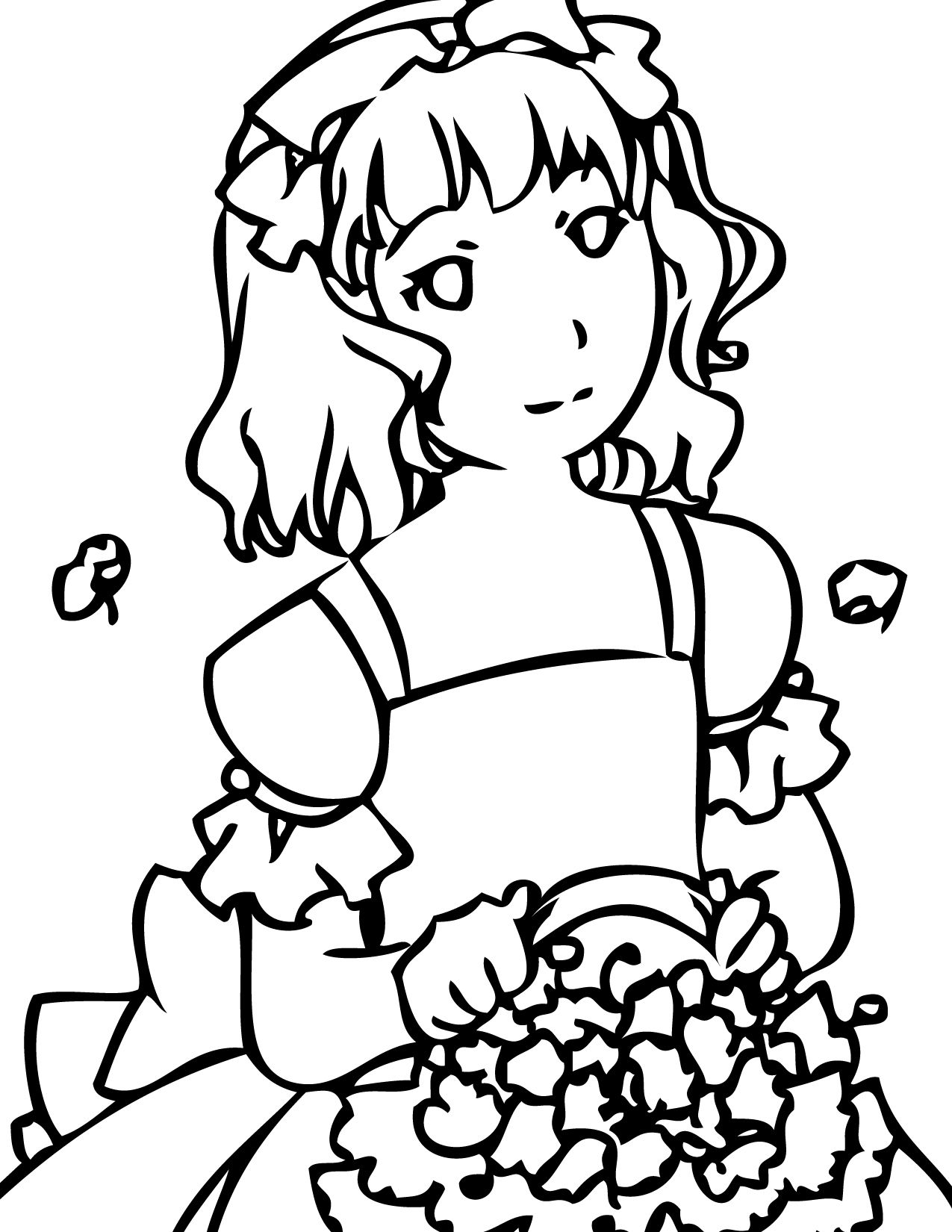 Flower Girl | Coloring Pages | Pinterest | Coloring books, Book ...