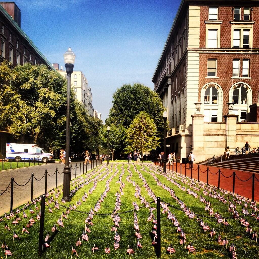 College Walk on Columbia's Morningside campus, commemorating 12 years since 9/11.