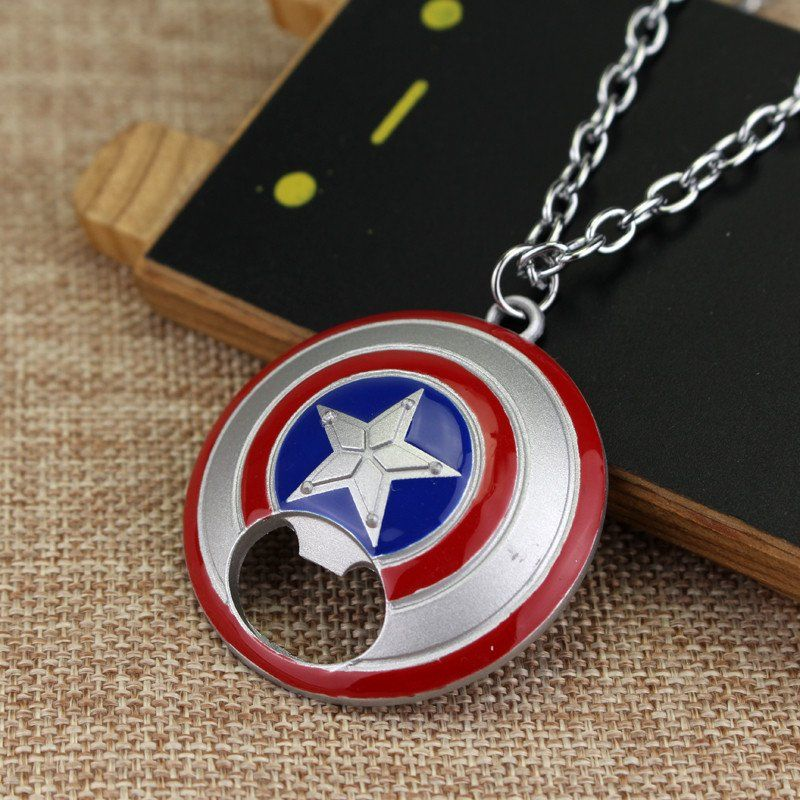 Captain America Shield Metal Bottle Opener Logo Pendant Necklace For Men Fashion Accessories jewelry