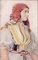 Kominek, R., Zwei Frauen in traditioneller Kleidung über einem ...