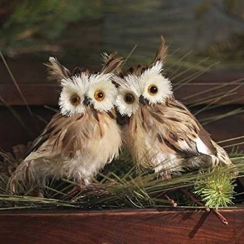 "Christmas Feathered OWL Bird Figure 5"" Tall, Set of 2, Brown"