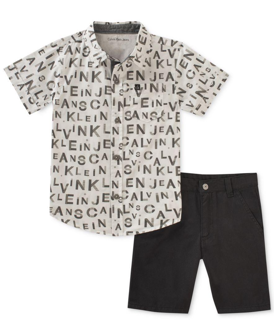 13182fc8 Calvin Klein 2-Pc. Printed Cotton Shirt & Shorts Set, Baby Boys ...