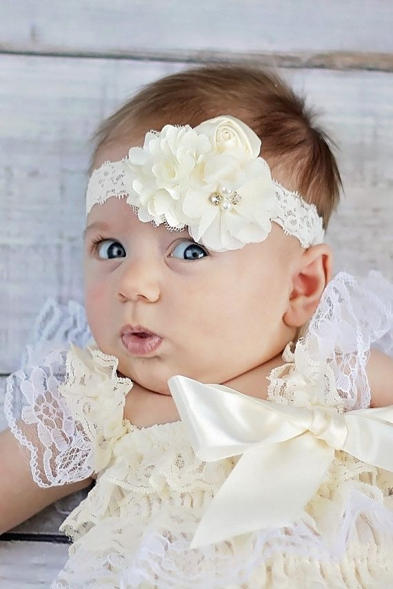 Diadema de encaje marfil venda del beb por - Diademas de encaje ...