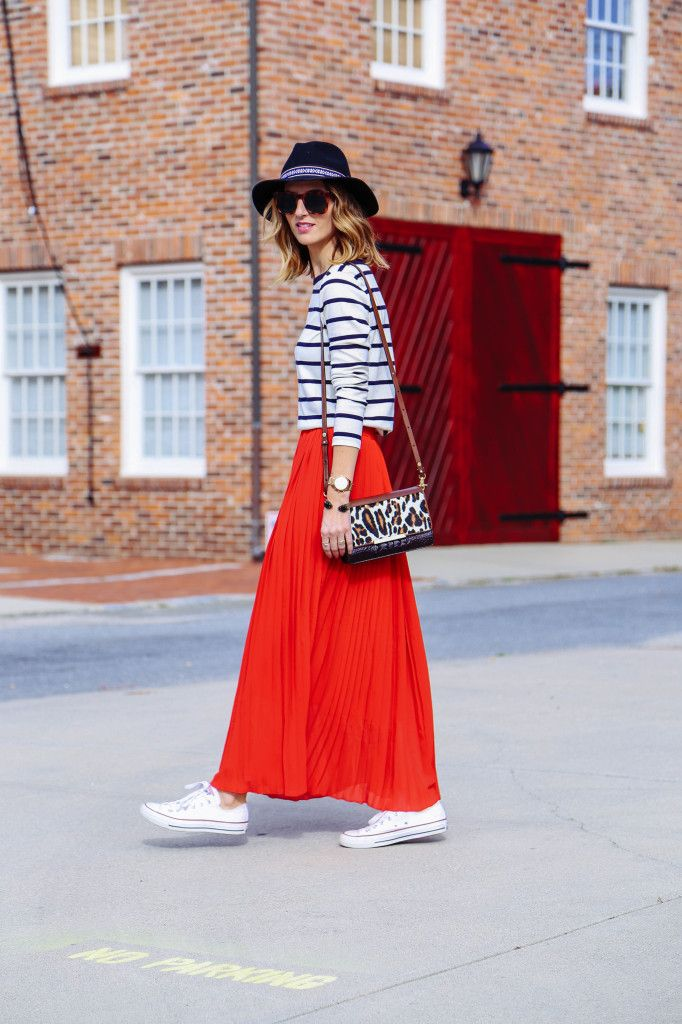4e7f4171877 Red plated maxi skirt