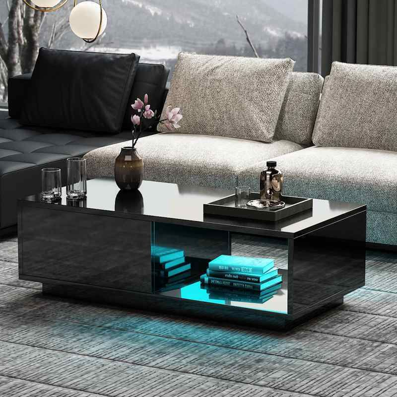 Details About Modern Black Coffee Table High Gloss 1 Drawer