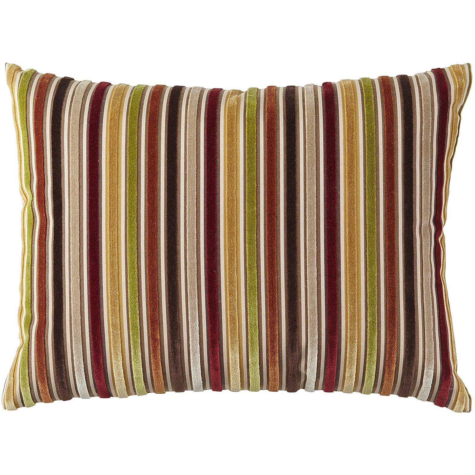 Decorative pillows with blue brown and yellow - Warm Velvet Striped Pillow