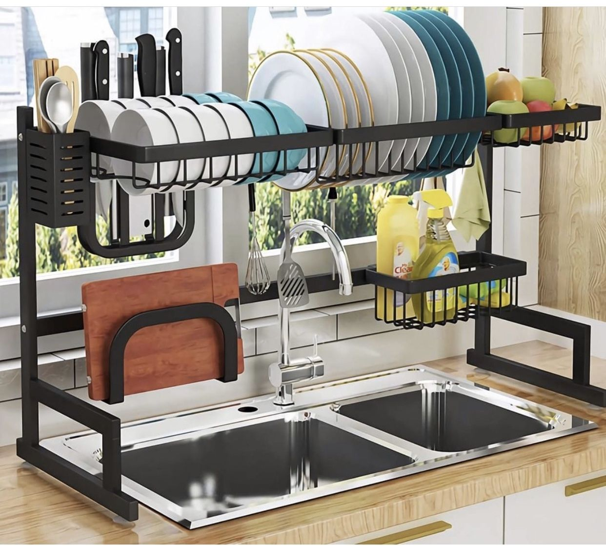 Pin By Nesha Daniels On Homes Stainless Steel Kitchen Shelves Dish Rack Drying Kitchen Counter Organization