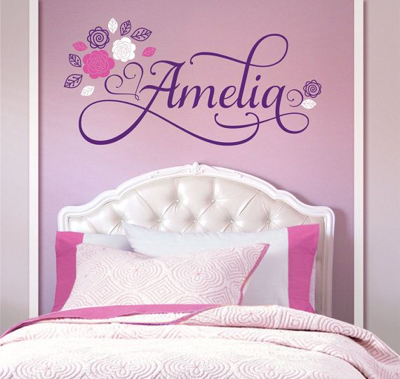 Flowers Personalized Custom Name Vinyl Wall Decal Sticker For - Custom vinyl wall decals flowers