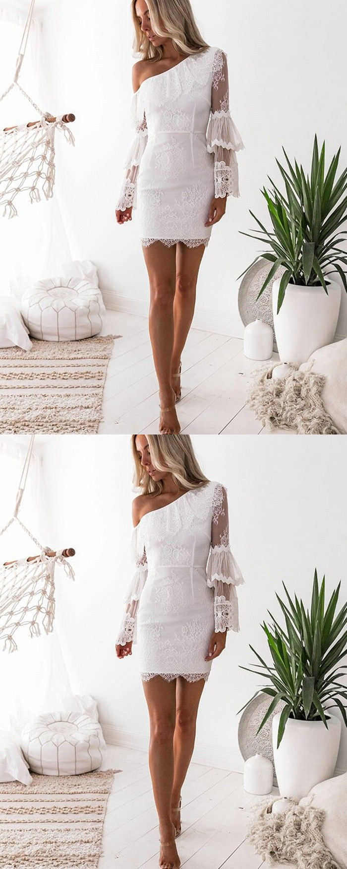 White Lace Asymmetric Tight Homecoming Dress With Long Sleeves On Storenvy Short Dresses Tight Formal Dresses Tight Homecoming Dresses Tight [ 1750 x 700 Pixel ]