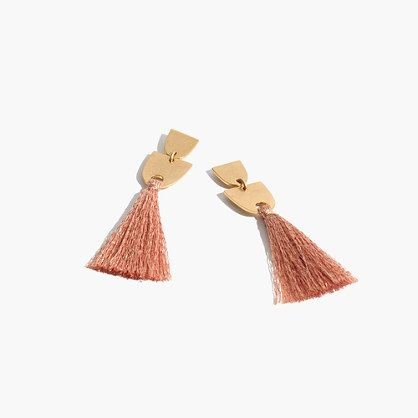 Cool geometric earrings hung with hand-tied fringe (because, yes, we wear our tassels from head to toe). <ul><li>Diameter: 14mm x 73mm.</li><li>Brass, cotton thread.</li><li>Clean your jewelry after each wearing with a soft cloth.</li><li>Import.</li></ul>