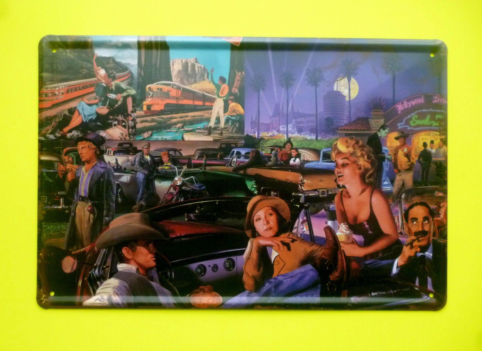 Nostalgie Blechschild Hollywood Film Kino Dean Monroe Wayne Dick Doof  20 x 30
