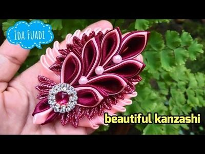 160) DIY || Cara membuat Bros || Merak Kanzashi || Best tutorial (remake of video no 3 and 37) #ribbonflower