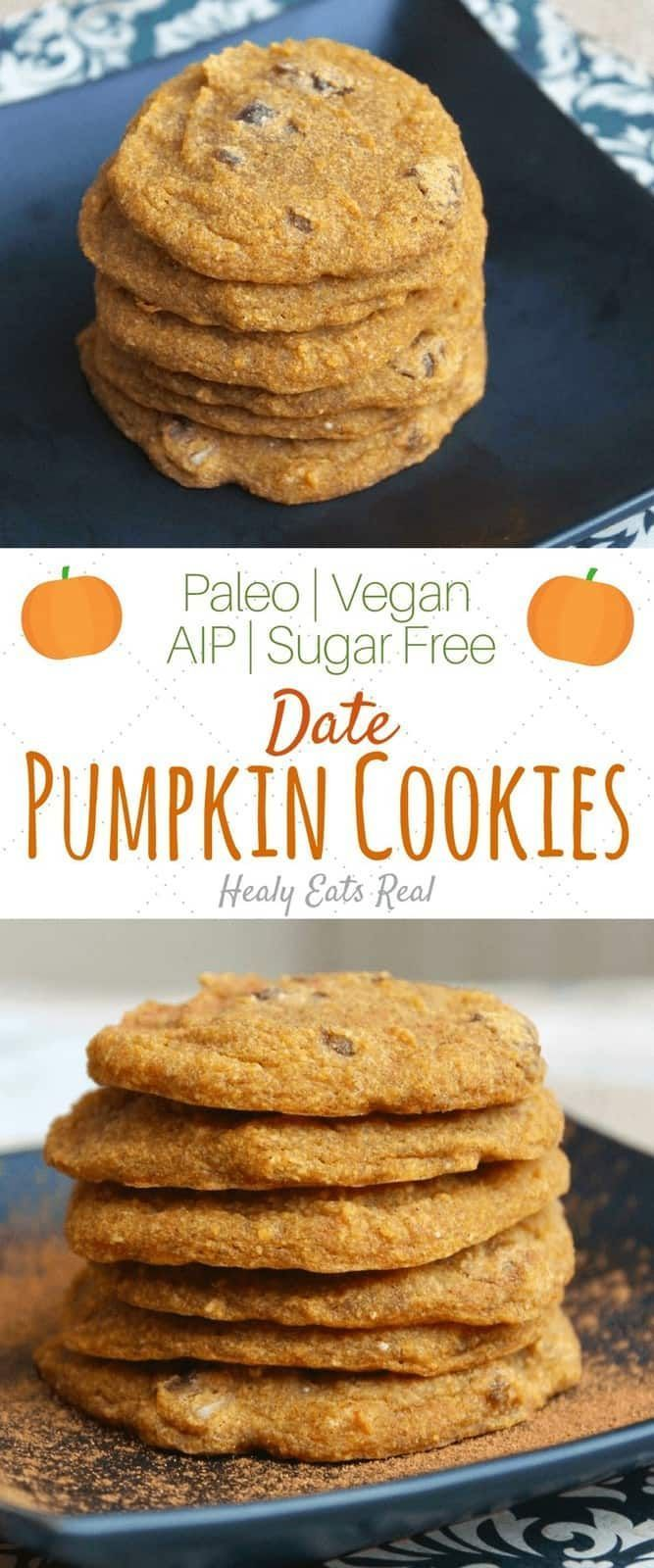 Healthy Date Pumpkin Cookies Recipe (Paleo, AIP, Vegan, Sugar Free)- These healthy date pumpkin cookies are the best easy fall recipe! They're paleo, AIP, vegan, gluten free, dairy free and sugar free, so enjoy them without worrying about unhealthy ingredients! If you are on a special diet like the autoimmune paleo protocol (AIP), these are free of eggs too! #AIP #banana #cookies #healthy #paleo #pumpkin #special diet #vegan