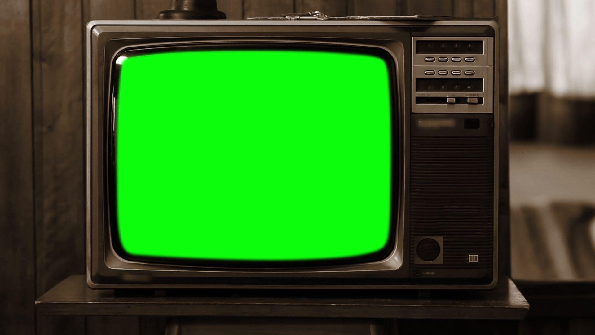 1980s Television Green Screen Sepia Tone Zoom Out Stock Footage Green Screen Television Sepia Greenscreen Retro Videos Chroma Key