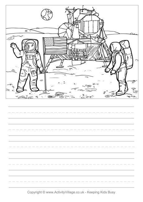 Moon Landing Story Paper Moon Landing Handwriting Paper Moon Unit