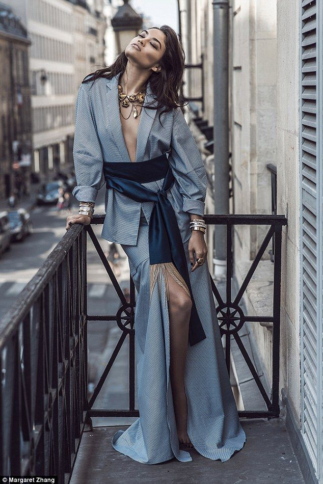 Shanina Shaik goes braless as she poses up a storm in Paris for edgy fashion shoot