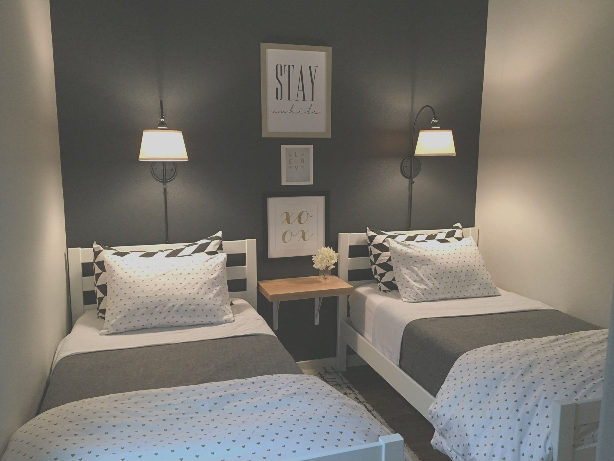 Small Guest Room With Two Twin Beds In 2020 Small Guest Rooms Bedroom Design Diy Grey Walls Living Room #twin #bed #in #living #room