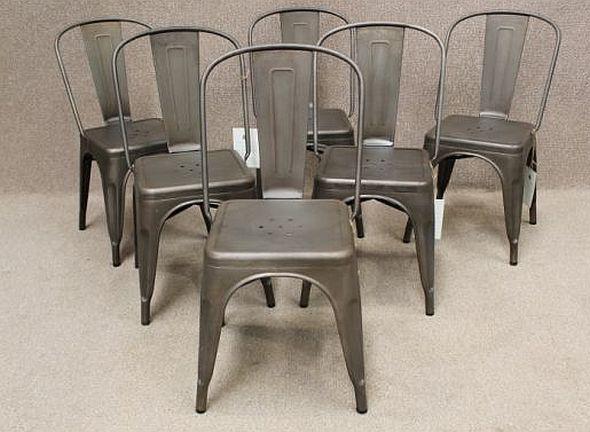 Tolix Chairs Gunmetal Jpg 590 432 Pixels Metal Cafe Chairs Metal Dining Chairs Steel Dining Chair